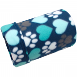 Aqua Hearts and Paws Fleece Tube