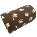 Brown with Tan Paw Prints Fleece Tube