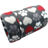 Grey Hearts and Paws Fleece Tube