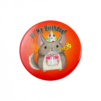 Classic Chinchilla Birthday Button Pin