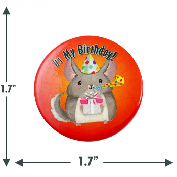 Chinchilla Birthday Button Pin